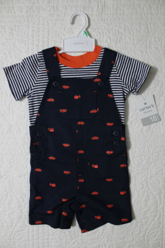 NEW CARTERS BOYS 2 PIECE SET SHORTALL OVERALLS OUTFIT CARS ORANGE NAVY 12M 18M