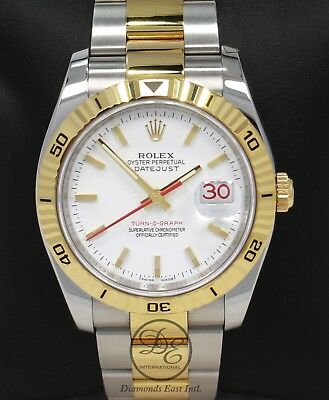 Rolex Datejust 116263 Turn,O,Graph White Dial SS/ 18K Yellow Gold Watch  *MINT