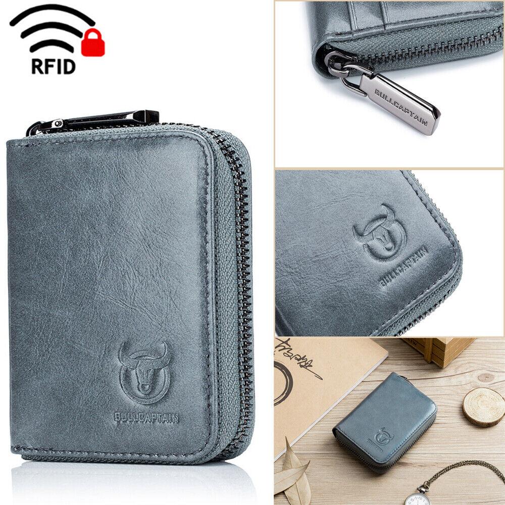 Mens Wallet Genuine Leather Pocket Slim Credit Card Holder Purse Rfid Blocking