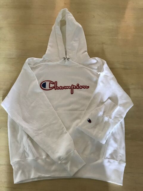 c62999f17 Mens Champion Reverse Weave Pullover Hoodie-White Champion LOGO