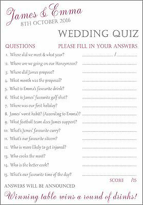 15 X FULLY PERSONALISED Wedding / Bride & Groom Quiz Cards Fun for your Guests