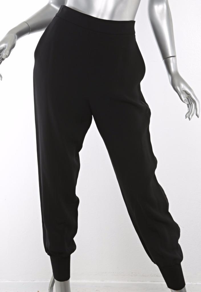 STELLA MCCocheTNEY Negro Jogger lado-Stripe de High-Rise Elástico Pantalones  cónicos 6-42  directo de fábrica