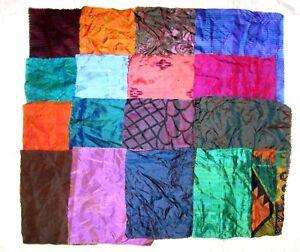 LOT-PURE-SILK-Vintage-Sari-Fabrics-REMNANT-16-pcs-8-034-SQUARES-Changes-Color-Light