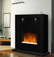Electric Fireplace Heater Fire Black Surround Free Standing Mantel Led Lights