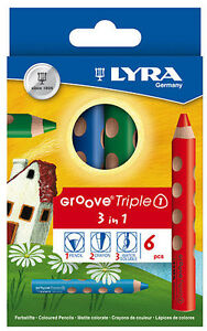NEU: 6x Lyra Groove Triple1 3in1 Buntstift Wachsmalkreide Aquarellstift Woody