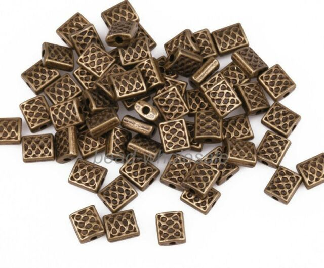 100pcs Antique Bronze Zinc Alloy Square Shaped Spacer Beads Charms Crafts