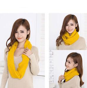 Infinity-2-Circle-Women-Winter-Warm-Knit-Cowl-Neck-Warmer-Scarf-Shawl-Yellow-New