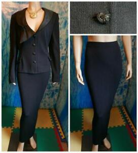 ST JOHN Evening Knits Black Jacket Skirt XL 16 14 2pc Suit Silk Trim Buttons Pin