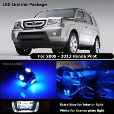 15PCS Blue Interior LED Bulbs For 2009 - 2013 Honda Pilot White for License
