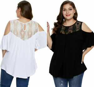 Blouse-Top-Cold-Shoulder-Ladies-Black-White-Plus-Size-Crochet-Yoke-Size-18-34