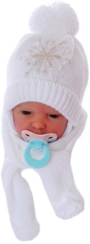 Mütze und Schal SET 36-38 Baby Erstlingsmütze Mützchen Schal Ohrenschutz Weiß