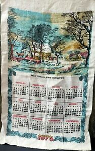Vintage-1975-Tea-Towel-Calendar-Wall-Hanging-DISH-Coffee-Tole-WINTER-IN-COUNTRY