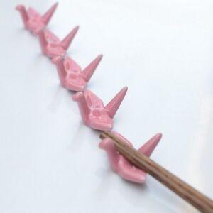 2Pcs-Origami-Ceramic-Chopsticks-Holder-Chopsticks-Stand-Rack-Spoon-Fork-Rest-Red