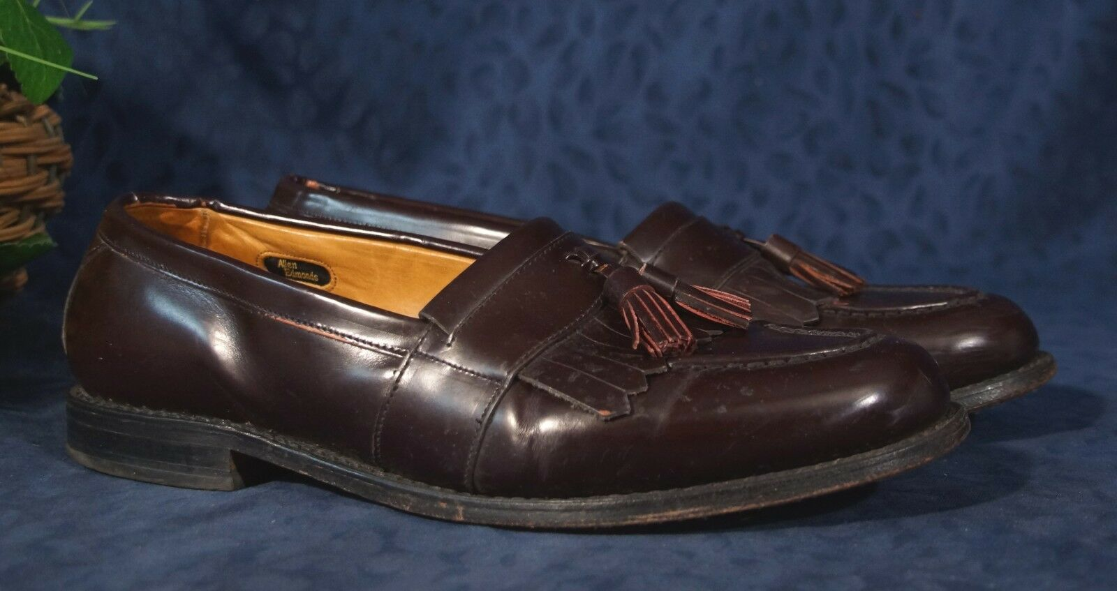 Handsome ALLEN EDMONDS Burgundy Leather NEWPORT Tassel Loafers Sz 10.5D