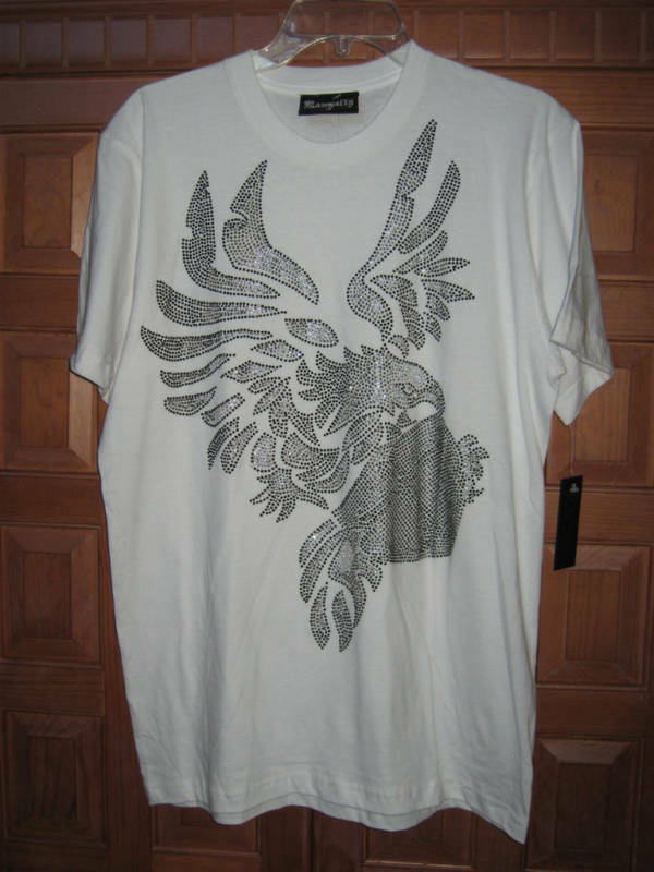 Rawyalty Rhinestone Flying Eaglev Men's SHIRT M NWT