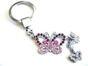 Butterfly-Key-Chain-Pink-Crystal-Silver-Key-Ring-Dangle-Charm-Christmas-Gifts