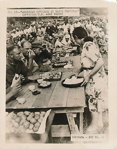 WWII-1945-Okinawa-US-Army-officers-at-dance-festival-Photo