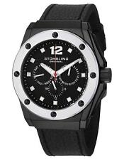 Stuhrling 469 33B51 Black Midnight Apocalypse Day Date 24 Hour GMT Mens Watch