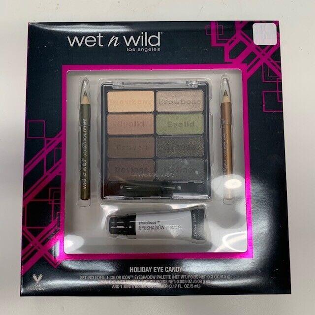 Wet n Wild Color Eyeshadow Pallet Eyeliner & Primer Set Brush Holiday Candy