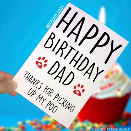 Card For Dad Pet Card Dog Lover PC285 Funny Happy Birthday Card From The Dog