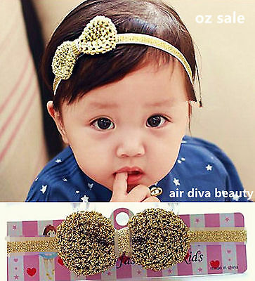 Girls Baby 80/' Retro Rock Syn leather Bow Party Headband Hair band Wrap PROP