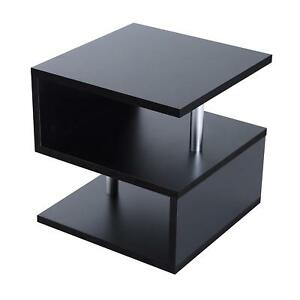 big sale 22ca7 b5409 Details about Small Black Modern Side Table 2 Tier Coffee Tea Storage  Tables For Living Room