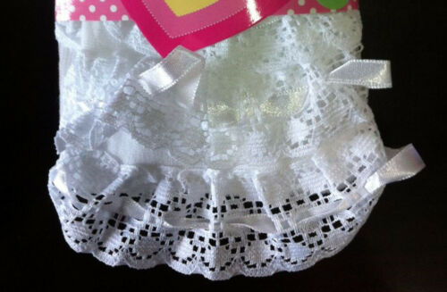 Girls Kids Baby Toddlers White Lace trim Frilly Stockings Tights Pantyhose