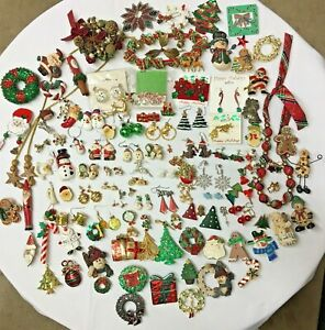 100+ Christmas jewelry Lot Vintage to Modern Costume Pins Earrings Necklaces Etc