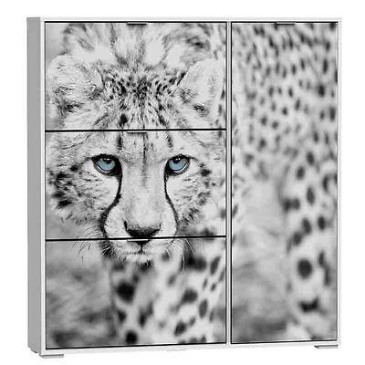 Armario zapatero Leopardo blanco 4 puertas de dormitorio o recibidor 130x120 cm