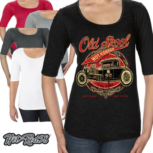 Femmes hot rod 58 scoop neck t shirt old skool rodder voiture garage rockabilly 43