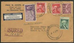 1957-Certified-mail-Liberty-series-CA-to-Newark-NJ-Scott-1039-1031-1044-946