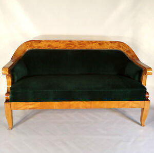 Biedermeier Sofa Birch Tree Pads Laying Chaise Longue Seat
