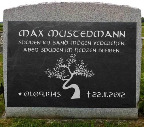 Grabschmuck Grabbeigabe Grabstein Gedenkstein Baum-001 ♥TEXT GRAVUR♥ 35 x 25 cm