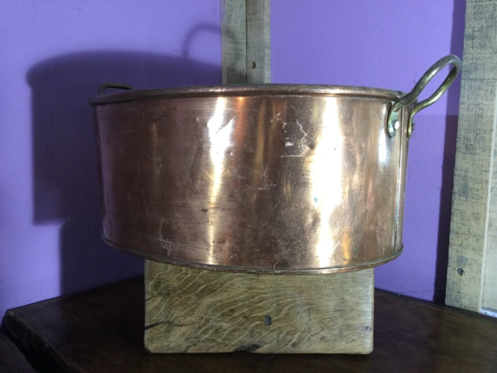 Lovely Quality Vintage Copper & Brass Oval Planter. Pan, Dish. Quality