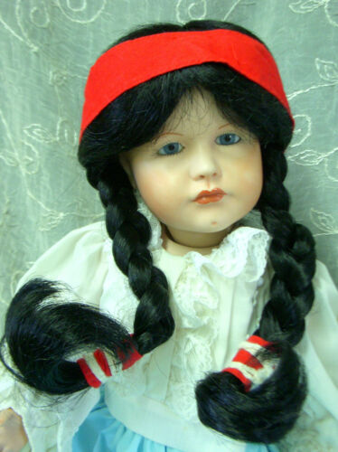 "12-13½  BLACK NATIVE AMERICAN Braids /& Headband! WEE 3 Doll Wig /""STARSHINE/"""