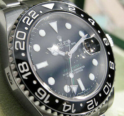 *NEW* ROLEX MENS STAINLESS STEEL CERAMIC GMT-MASTER II BLACK #116710