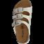 Weiß Camprella Damen Tieffußbett Pantoletten Sandalen 3-Schnaller