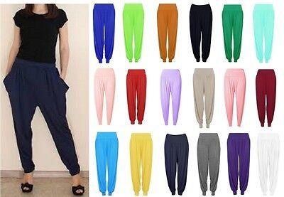 Liberal Womens Harem Baggy Trousers Long Pants Leggings Uk 8-28 Reinweiß Und LichtdurchläSsig