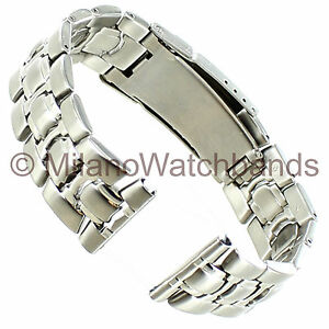 22mm-Morellato-Stainless-Solid-Link-Straight-amp-Curved-End-Mens-Watch-Band-XL