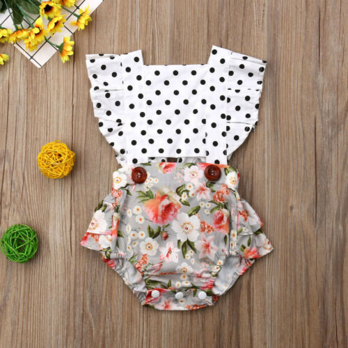 US Toddler Baby Girls Clothes Splice Romper Jumpsuit Bodysuit Outfits Set Summer