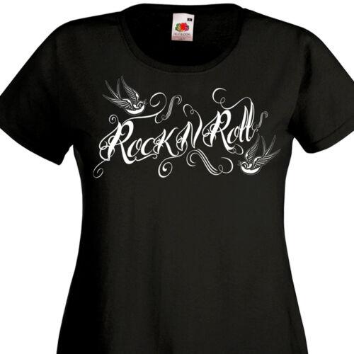 T-shirt femme ROCK/'N/'ROLL Teddy Girl Rockeuse Rockabilly Style Tattoo Old School