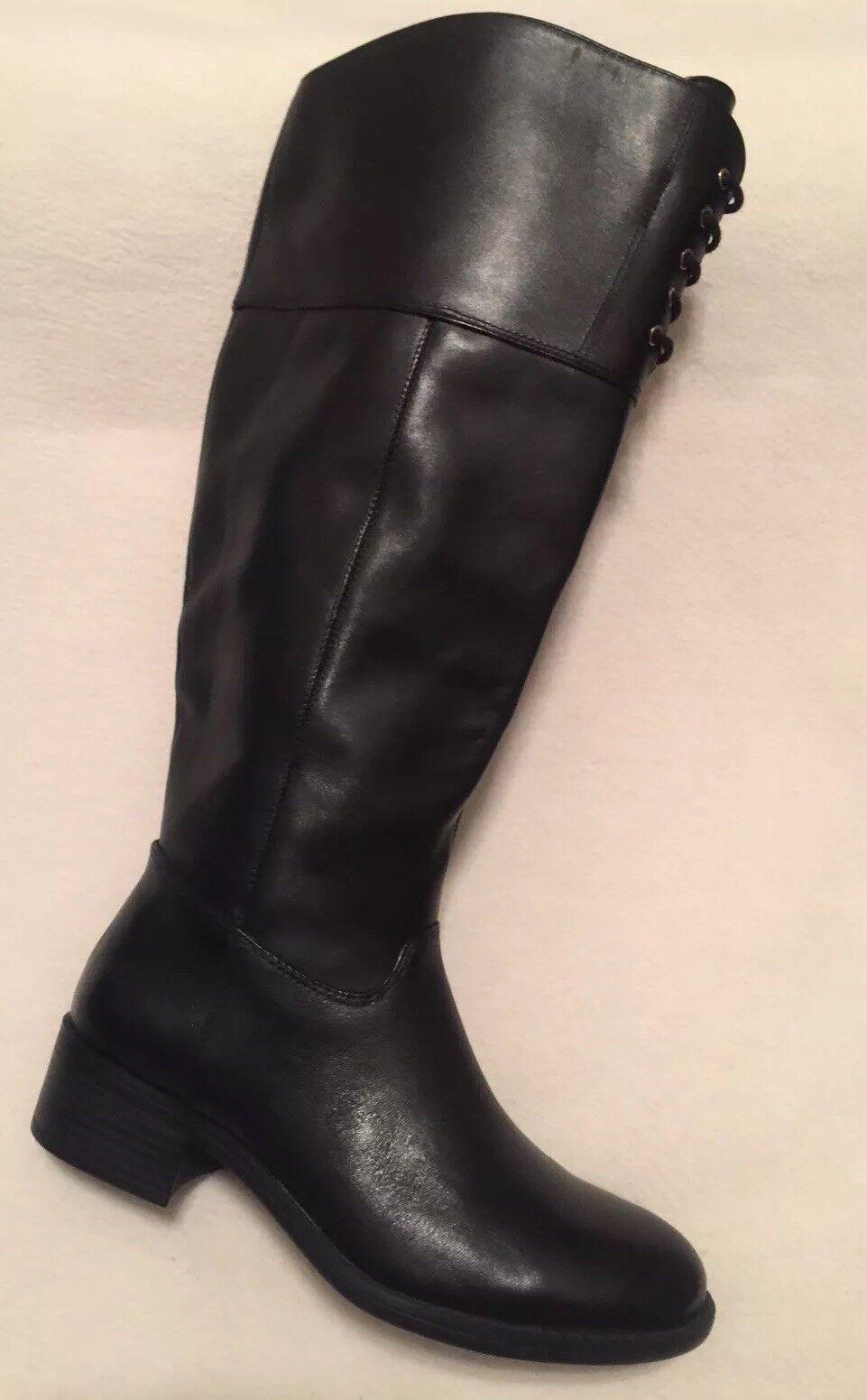 New Isaac Mizrahi Leslie Black Leather Tall Boots Wide Calf sz 5M