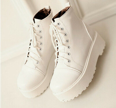 Women Shoes Lace Up Chunky Low Heel Platform Punk Creeper Motorcycle Ankle Boots