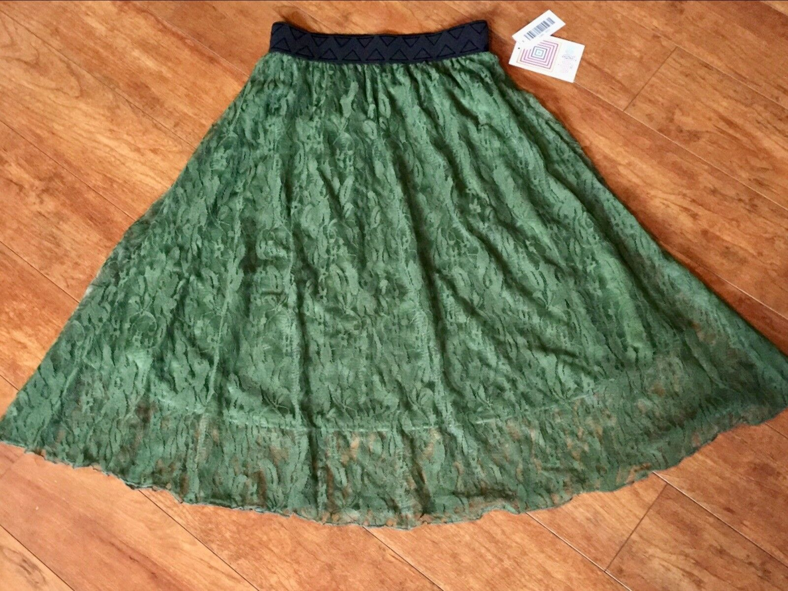 FREE SHIP Brand New XXS LuLaRoe OLIVE Green FLORAL LACE Lola SKIRT NWT Moss Army