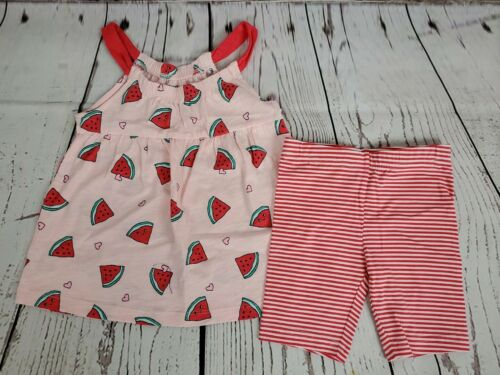 Carters Baby Girls Stripe Watermelon Shorts 3t short and tank 0290