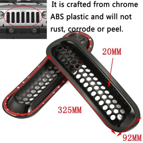 Black Trim Front Grille Cover Insert Mesh Grill 7PCS For 07-16 Jeep JK  Wrangler
