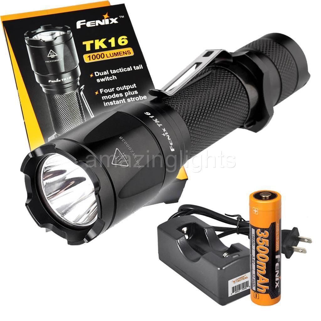 Fenix TK16 1000 Lumen LED Flashlight w  Fenix 3500mAh 18650 Battery and Charger