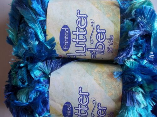 Nicole Flutter Fiber yarn, boa eyelash, bluemint green, lot of 2 55 yds ea