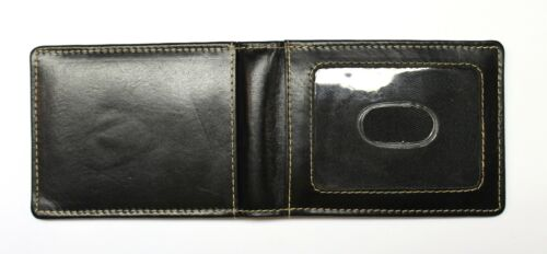 Black Leather Front Pocket Wallet with Magnetic Money Clip