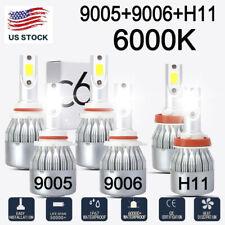 6pcs 9005 9006 H11 Combo Highlow Beam Led Headlight Fog Kits Bulb 6000k White